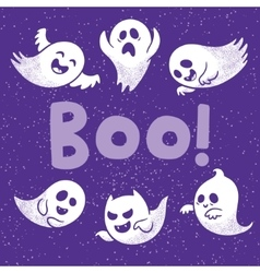 Halloween card with scary white ghosts vector