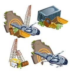 Helicopter crash and wreckage of equipment vector