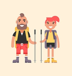 Hiking Concept Smiling Young Man and Girl with vector image