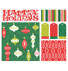 holiday seamless patterns gift tags and designs vector image