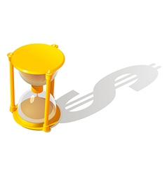Hourglass and dollar shadow vector image