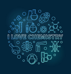 I love chemistry blue concept linear round vector