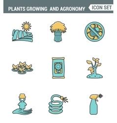 Icons line set premium quality of plants growing vector