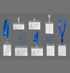 Id card and name tag in plastic badge holders vector