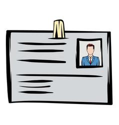 Identification card icon cartoon vector