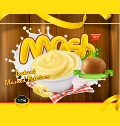 Instant mashed potatoes design packaging 3d vector
