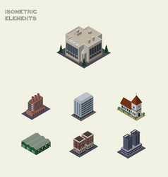 Isometric building set of company office house vector