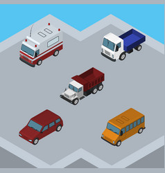 Isometric transport set of car lorry autobus and vector