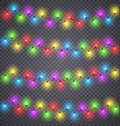 Light garlands christmas festive color lighting vector