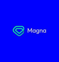 linear gem diamond loop icon logo design vector image