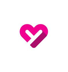 Love letter y logo icon design vector