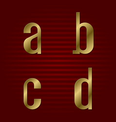 Lowercase gold font isolated a b c d letters vector