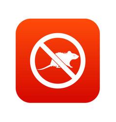 No rats sign icon digital red vector