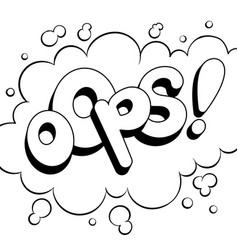 oops word comic book coloring vector image