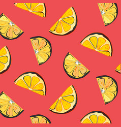 organic lemon graphic on coral background vector image