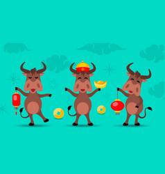 Oxen cartoons happy new year 2021 vector