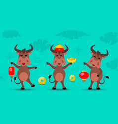 Oxen cartoons happy new year oxen 2021 vector