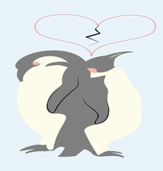 Pair of penguins and broken heart above vector