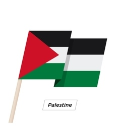 Palestine ribbon waving flag isolated on white vector