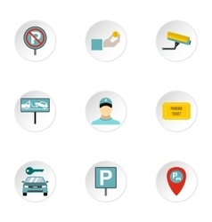 Parking station icons set flat style vector image