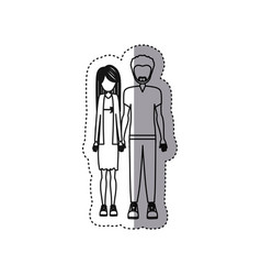 people couple together icon vector image
