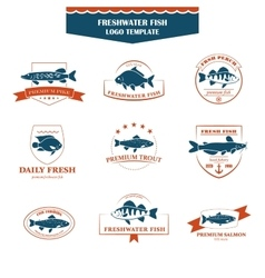 Perfect set of fish logos vector image