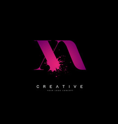 Purple pink xa x a letter logo design with ink vector
