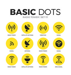 Radio tower flat icons set vector