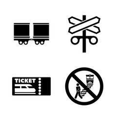 railroad railway train simple related icons vector image
