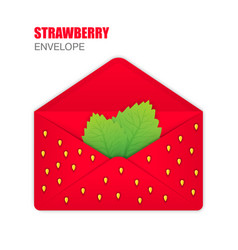 Red open envelope with the texture of strawberries vector