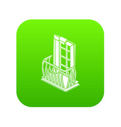 retro balcony icon green vector image