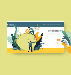 Savings account web page template piggy bank vector
