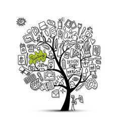 School of drawing art tree for your design vector