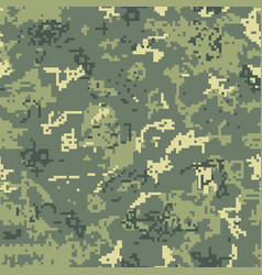 Seamless green camouflage of pixel pattern vector