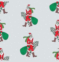 Seamless pattern santa claus walking with vector