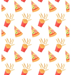 Seamless pattern with pizza slices and French vector image