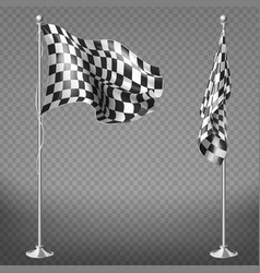set checkered racing flags on poles vector image