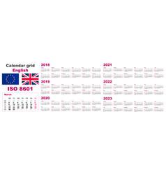 Set grid wall calendar english for 2018 2019 vector