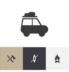 set of 4 editable camping icons includes symbols vector image