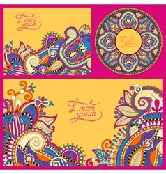 set of floral yellow background template frame vector image