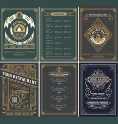 set restaurant menu templates vintage style vector image