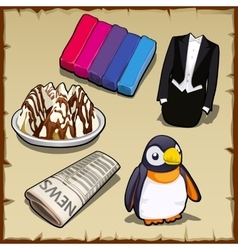 Set sweets newspapers penguin and other items vector