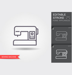 sewing machine line icon with editable stroke vector image