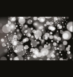 Silver bokeh lights and sparkles on black vector