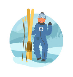 skier child flat vector image