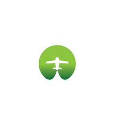small plane travel agency logo design idea vector image