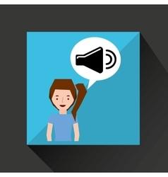 smiling girl music volume symbol vector image
