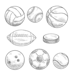 Sporting balls and hockey puck isolated sketches vector
