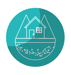 Sticker nice house in the forest witn mountains vector