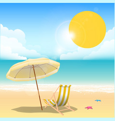 Summer yellow beach umbrella beach chair blue sea vector